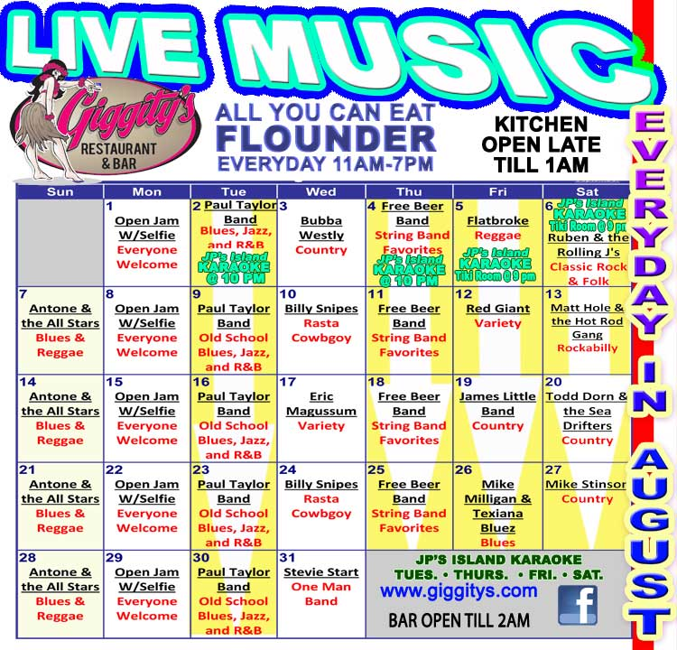 Live Music everyday in August at Giggity's in Port Aransas.
