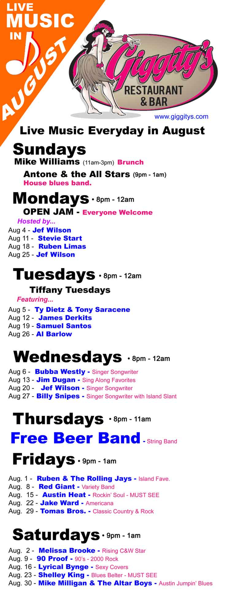 Giggitys Live Music Schedule - Music Live Every Day in Port Aransas, Texas.