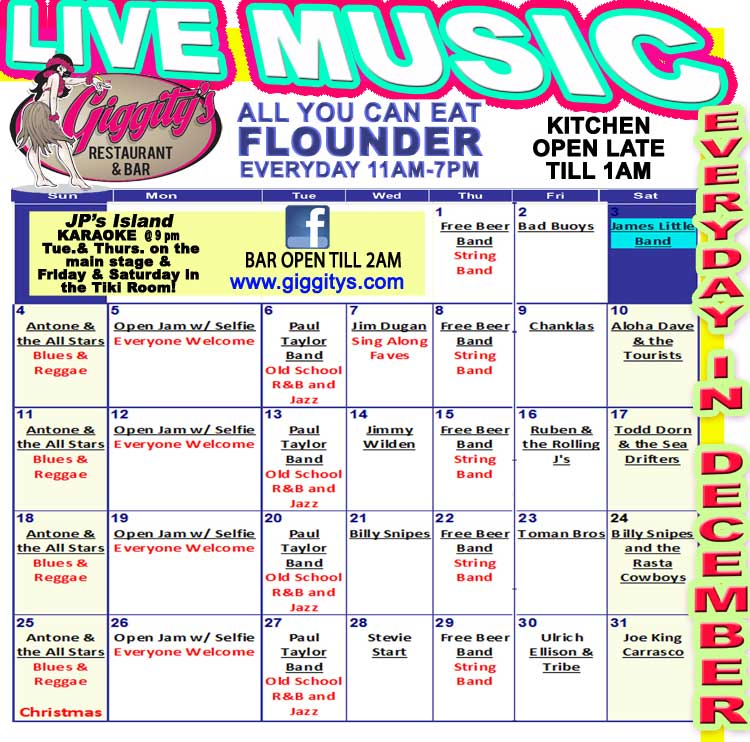 Giggity's Live Music everyday in October!